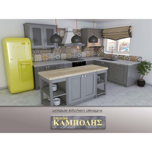 Kουζίνα σε γκρί απόχρωση με ψυγείο MEG